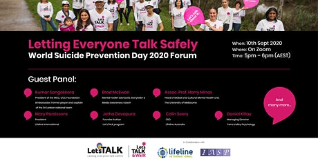 """Letting Everyone Talk Safely"" - World Suicide Prevention Day Forum 2020 tickets"