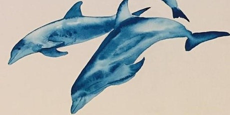 Watercolour class - Dolphins (live online painting class) tickets