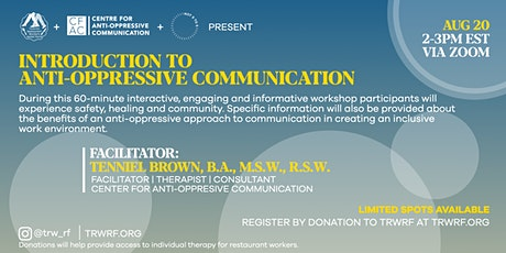 Introduction to Anti-Oppressive Communication For Hospitality Workers(FREE) tickets