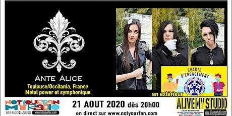 Ante Alice NotYourLive émission en live et en public billets