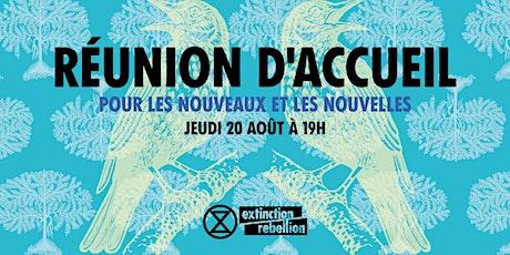 Accueil des nouvelleaux Extinction Rebellion billets