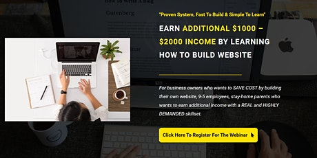 EARN ADDITIONAL $1000 – $2000 INCOME BY LEARNING HOW TO BUILD WEBSITE tickets