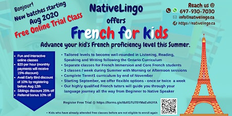 FREE Online Trial Class   NativeLingo offers French Classes for kids tickets