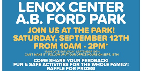 City of Detroit Community Meet-Up at A.B. Ford Park! Help Shape Your Play! tickets