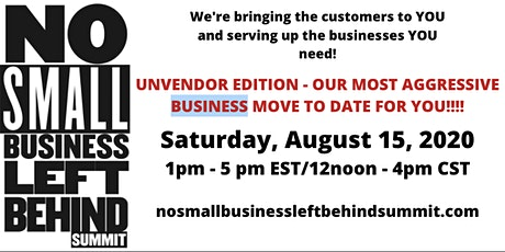 No Small Business Left Behind Virtual Summit tickets