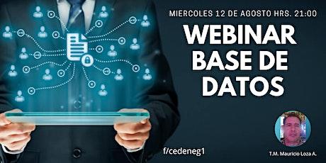 WEBINAR BASE DE DATOS entradas