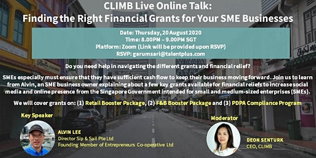 CLIMB Talk - Finding the Right Financial Grants for Your SME Businesses tickets