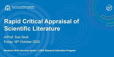 Rapid Critical Appraisal of Scientific Literature  - 16 Oct tickets