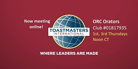 ORC Orators: fun. fast-paced. cosmopolitan Toastmasters club. Now online! tickets