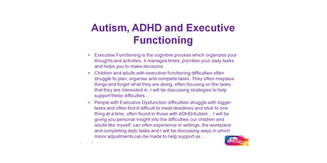 Autism, ADHD and Executive Functioning tickets