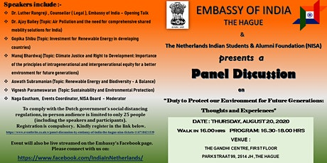 Panel Discussion by Embassy of India ,The Hague & NISA tickets