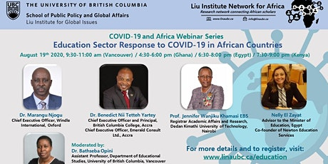COVID-19 & Africa Webinar Series - Education Sector Response to COVID-19 tickets