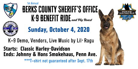 1st Annual Berks County Sheriff's Office K-9 Benefit Ride & Pig Roast tickets