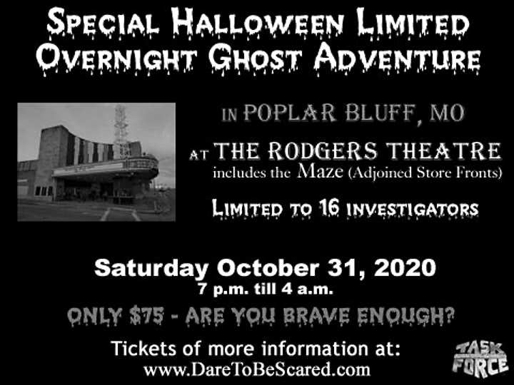 Poplar Bluff Mo Halloween Event For 2020 Halloween Night Limited Overnight Ghost Adventure Tickets, Sat