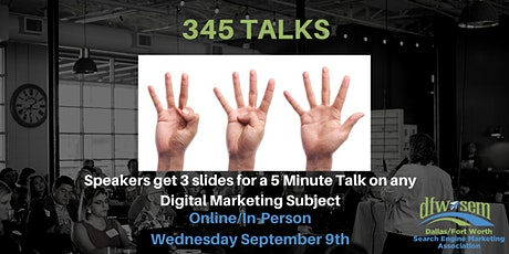 345 Talks - Earn a Chance to Speak at State of Search - September 2020 tickets