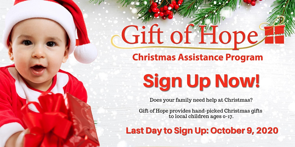 Christmas Assistance 2020 Gift of Hope 2020 Online Application Registration, Tue, Oct 13