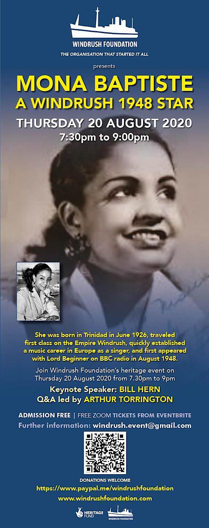 Windrush Foundation presents Mona Baptiste  a Windrush 1948 Star image