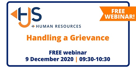 "FREE HR WEBINAR ""Handling a Grievance"" from HJS Human Resources tickets"