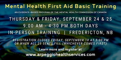 Mental Health First Aid Basic Training - Fredericton, NB tickets