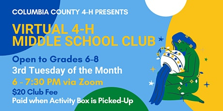 4-H Middle School Club Registration (3rd Thursday - $20 - Grades 6-8) tickets