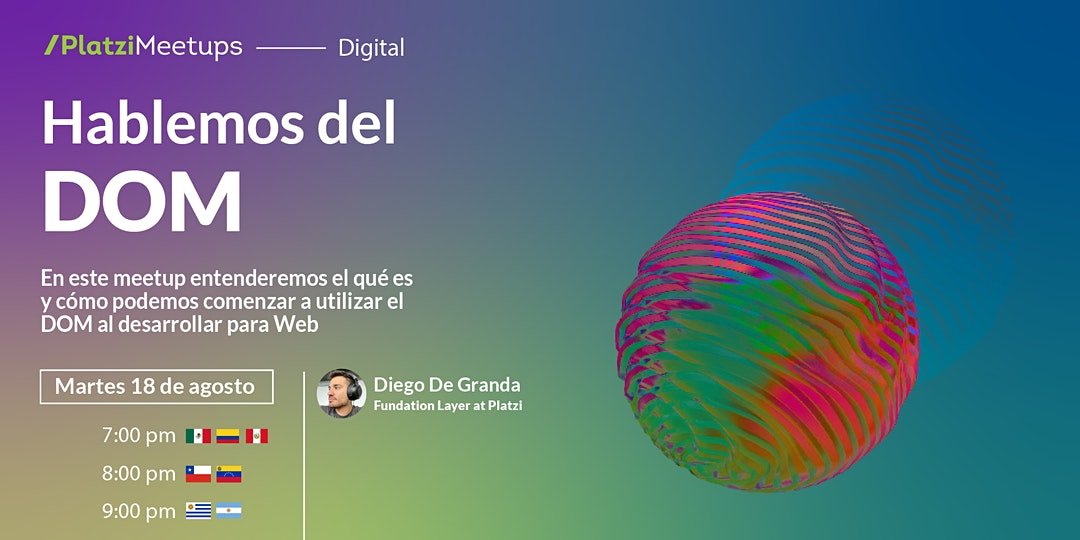 Anuncio de Desarrollo Web del 18 agosto a las 7pm
