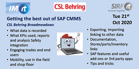 VICTAS Getting the best out of SAP CMMS - CSL Behring via Zoom tickets
