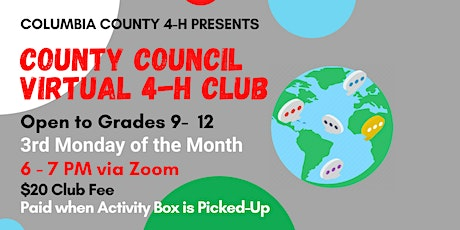 4-H County Council Club Reg. (3rd Monday - $20 - Grades 9-12) tickets
