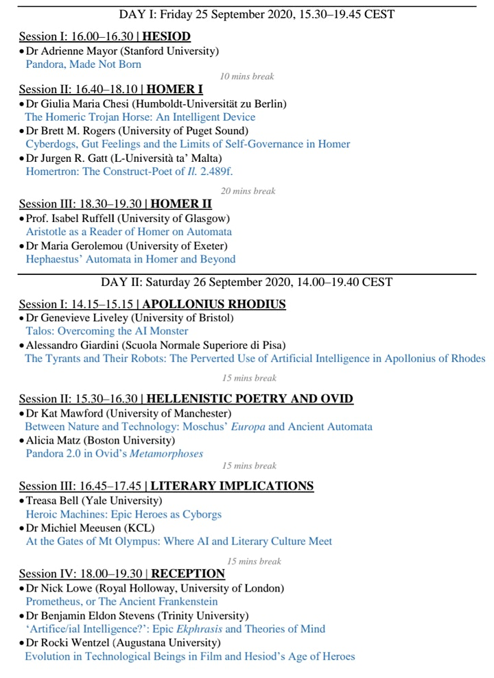 International Zoom Conference: Greek Epic and Artificial Intelligence image