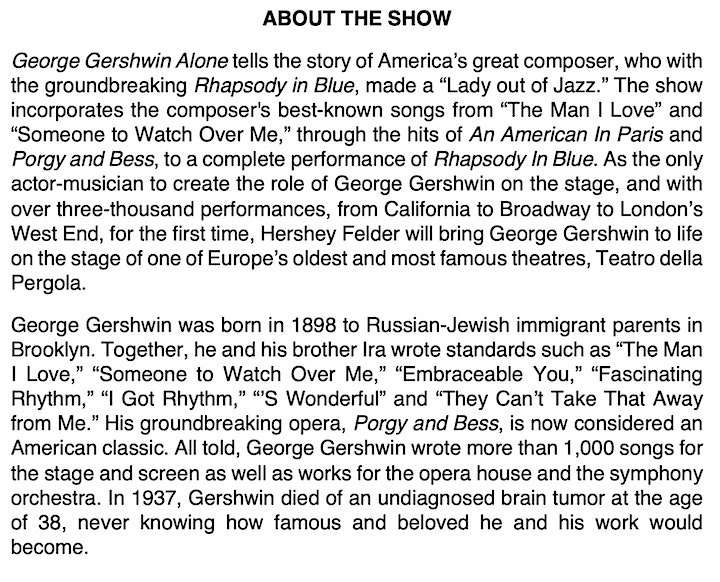 Hershey Felder as GEORGE GERSHWIN ALONE - LIVE from Florence image