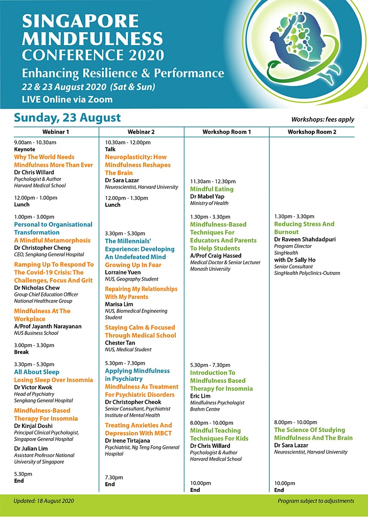 Singapore Mindfulness Conference 2020 -29/30 August Post-Conference Program image