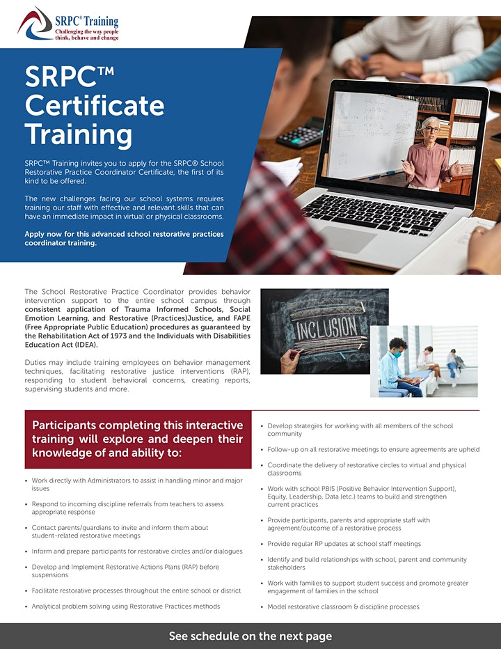 SRPC  3 day Certificate Training  Morning or Afternoon Session image