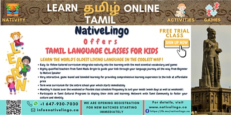 NativeLingo Offers |  FREE Online Tamil Language Trial Class for Kids billets