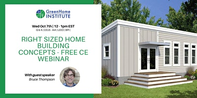 Right Sized Home Building Concepts – Free CE Webinar