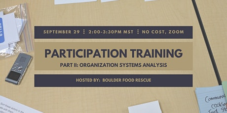 Participation Training Part II:  Organization Systems Analysis tickets