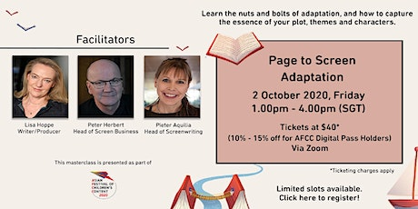 AFCC MASTERCLASS: Page to Screen Adaptation tickets