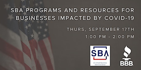 SBA Programs and Resources for Businesses Impacted by COVID-19 tickets
