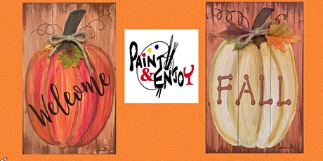 "Paint and Enjoy at The Hub & Corner Cafe  ""Welcome Fall"" on Wood tickets"