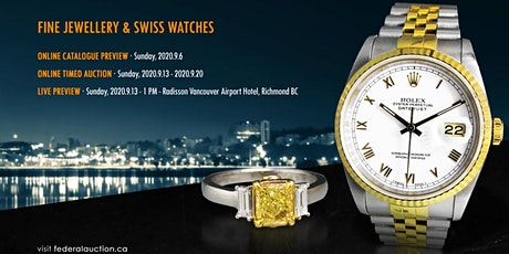 September 13-20th, 2020 - Fine Jewellery & Swiss Watch Online Auction tickets