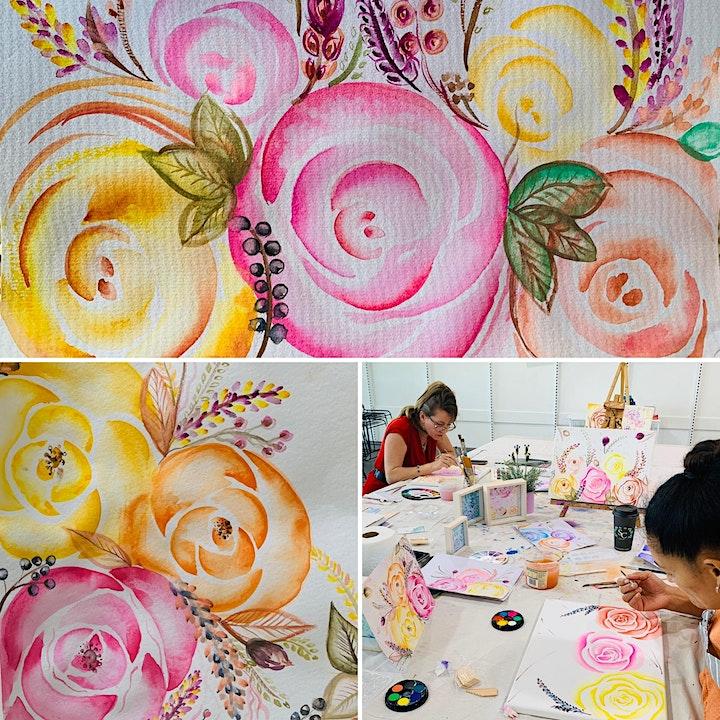 Kids Watercolour Roses Class image