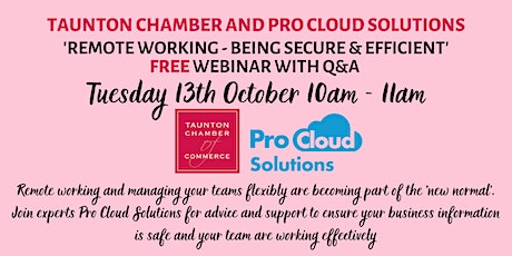 'Remote Working - being Secure and Efficient' FREE online webinar with Q&A tickets
