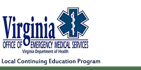 Virginia Office of EMS Category 1 CE Class Cardiac/Trauma Topics tickets