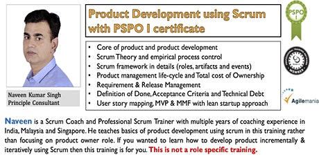 Product Development using Scrum with PSPO I certificate tickets