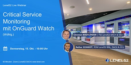 [DE] Critical Service Monitoring mit OnGuard Watch (Wdhlg.) Tickets
