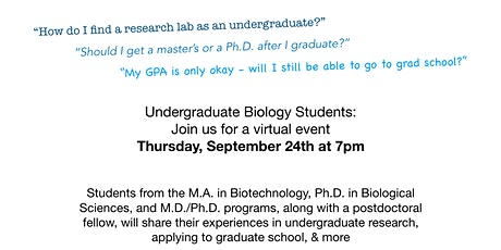 Path to Graduate School Event for Undergraduate Biology Students tickets