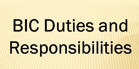 BIC Duties & Responsibilities Webinar (4 CE ELECT) Wed. Sept 23, 2020 (1-5) tickets