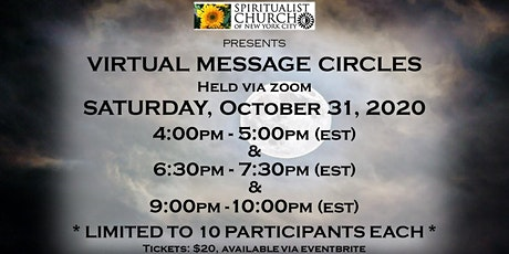 SCNYC October 31, 2020 Halloween Virtual Message Circles: 4PM, 6:30PM & 9PM tickets