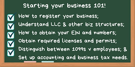 """Starting your business 101 - """"Ins and Outs""""  of starting online or physical tickets"""
