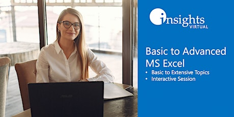 VIRTUALCLASS Basic to Advanced MS Excel Training tickets