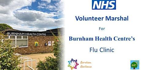 Volunteer Marshal for Burnham Health Centre's flu clinic tickets