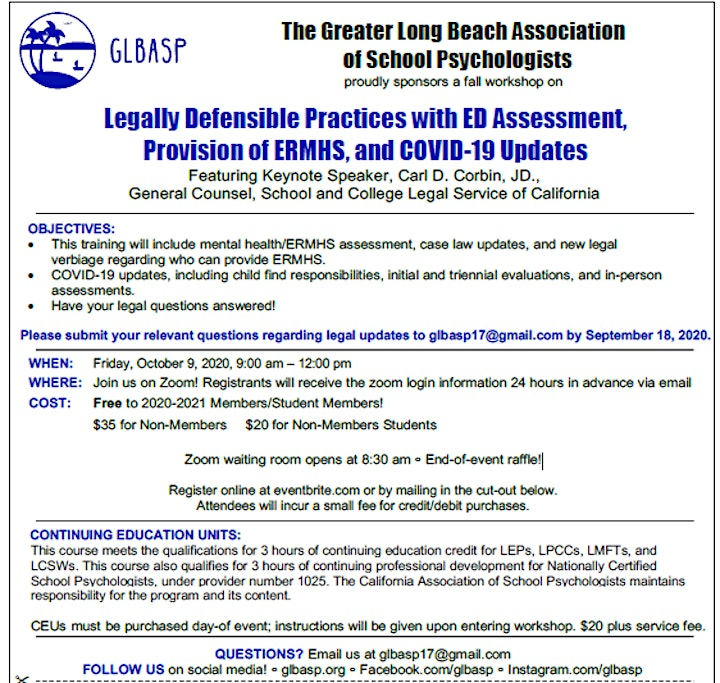 Legally Defensible Practices w/ Assessment, Provision of ERMHS, & COVID 19 image